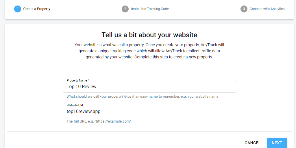 Image showing how to tell AnyTrack about your website for tracking and conversions