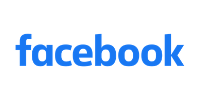 The facebook logo showing all the word in blue color