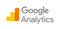 Google Analytics logo showing 3-pillar histograms beside the words Google Analytics