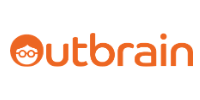 The Outbrain logo showing the words in orange color and a bespectacled head in the word O