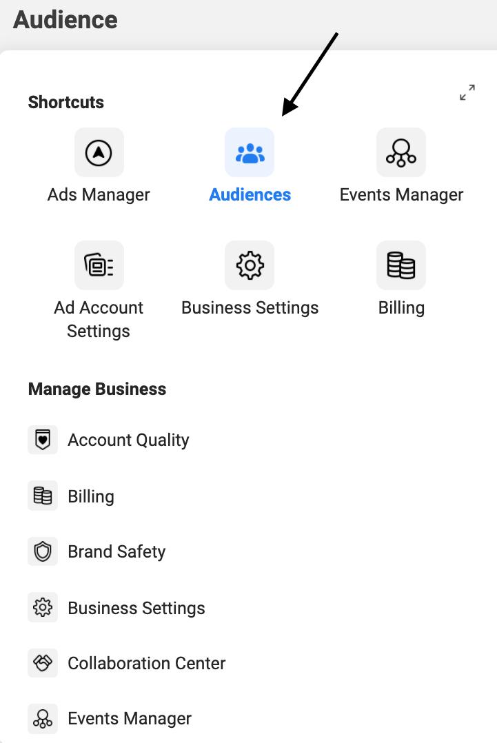 screenshot of step 2 for facebook retargeting ads