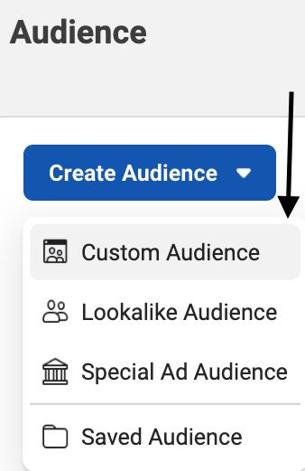 click custom audience to run facebook retargeting ads