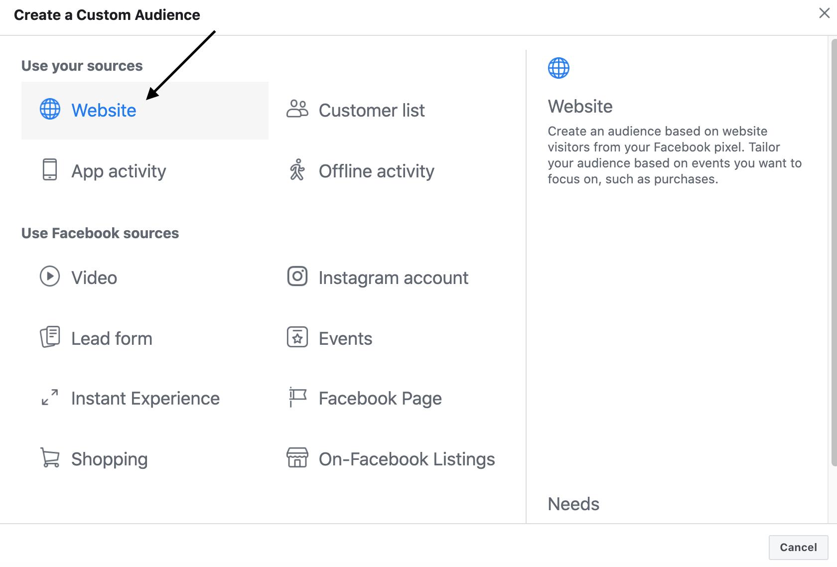 create custom audience to run facebook retargeting ads