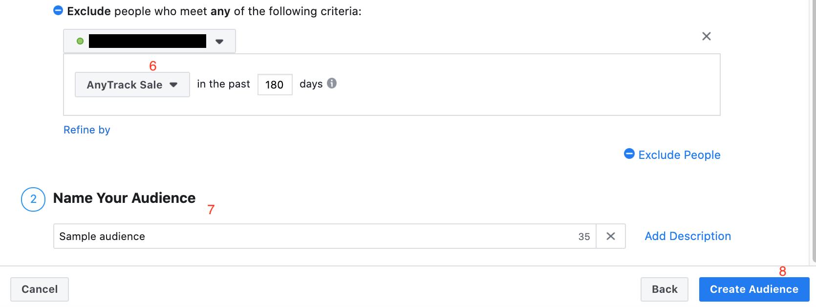 part 2 of screenshot on how to run facebook retargeting ads