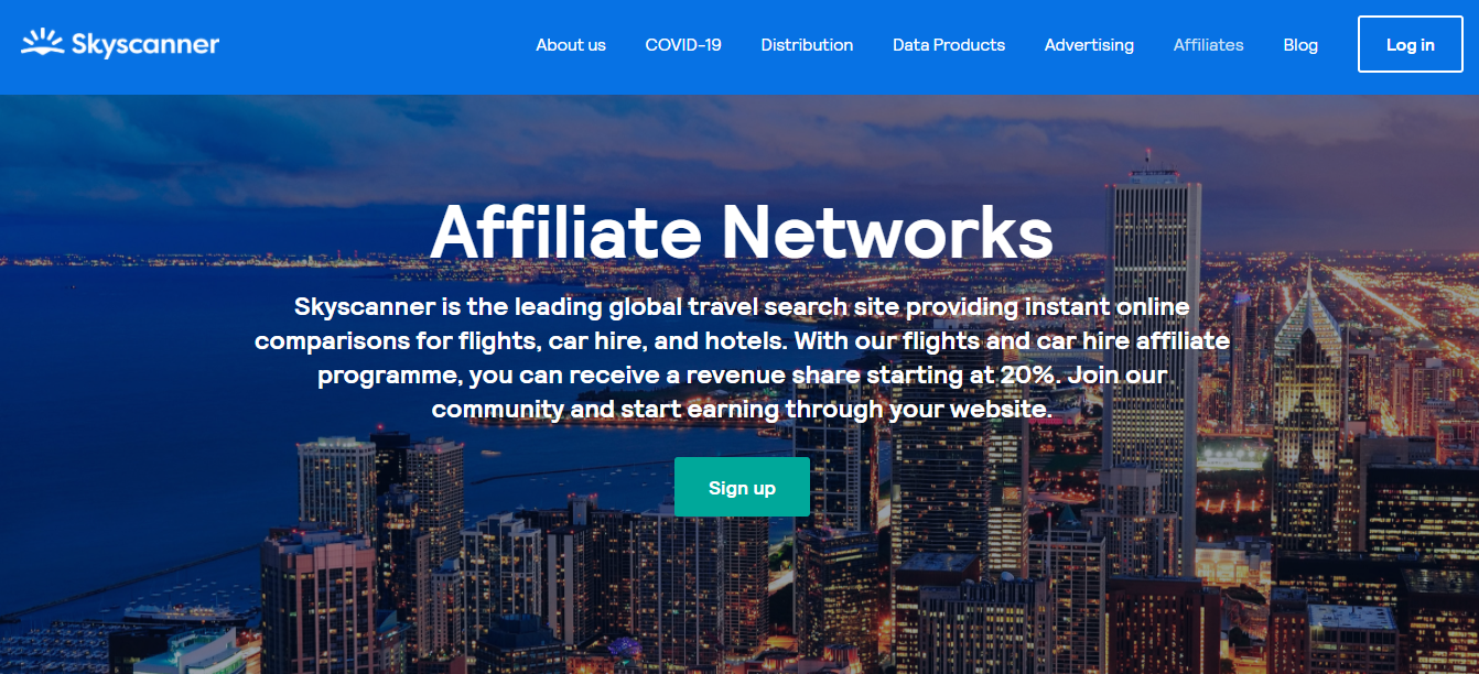 Skyscanner has one of the most popular affiliate program in the travel industry