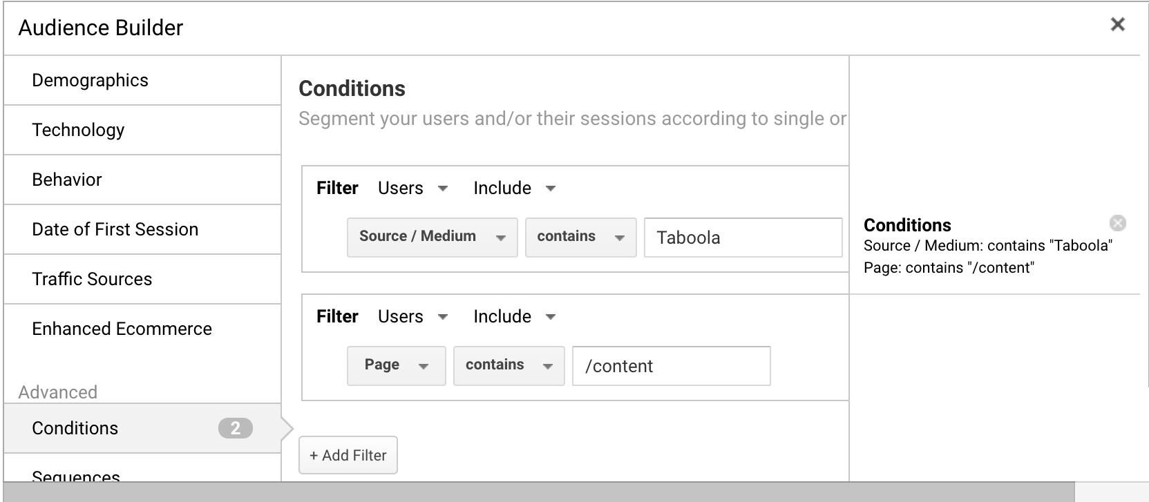 screenshot of google analytics to create custom audience to run native ads